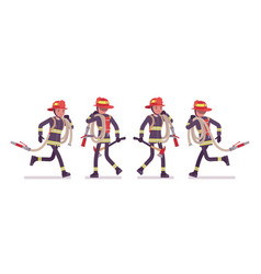 young male firefighter running with hose vector image