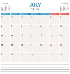 Calendar planner 2016 flat design template july vector