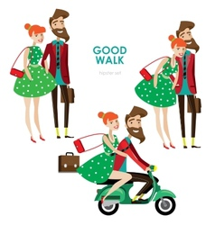 Hipster woman and man on scooter vector image vector image