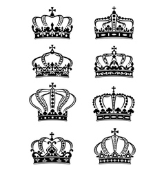 Set of heraldic royal crowns vector image vector image