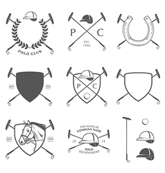 Set of vintage horse polo labels and badges vector image vector image