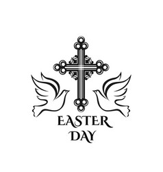 easter resurrection day cross and dove icon vector image vector image