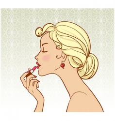 girl with lipstick vector image