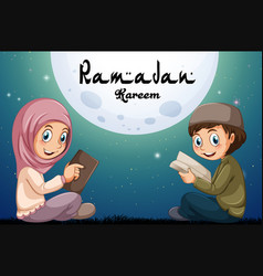 Muslim boy and girl reading books vector