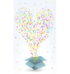 paper box and confetti vector image vector image