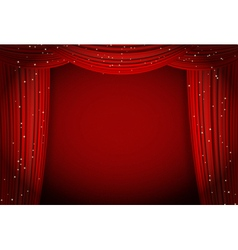 red curtains on red background vector image vector image