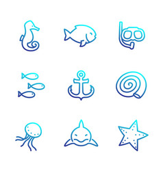 sea line icons isolated over white shark fish vector image