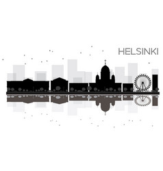 helsinki city skyline black and white silhouette vector image vector image