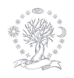 Magic sky tree vector image vector image