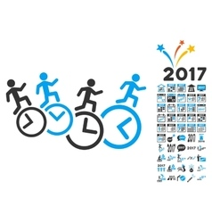 Men Running Over Clocks Icon With 2017 Year Bonus vector image