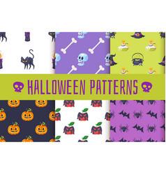 set of halloween patterns vector image