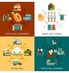 Textile Mill 4 Flat Icons Square vector image vector image