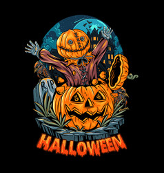A sack-headed human comes out a halloween vector