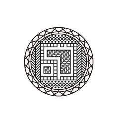 Abstract mandala line art logo design for yoga vector