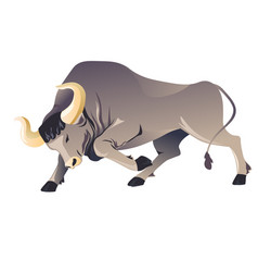 aggressive buffallo character running frenzied vector image