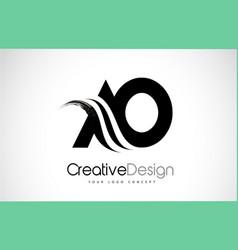 Ao a o creative brush black letters design vector