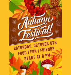 Autumn harvest festival foliage fall poster vector