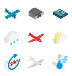 aviation equipment icons set isometric style vector image