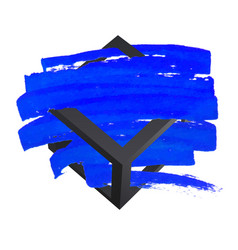 bright blue brush stroke hand painted background vector image