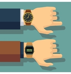 Businessman hand with wrist watch save time vector