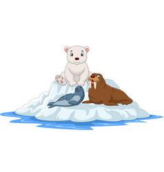 cartoon arctic animals on icebergs vector image