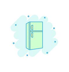 Cartoon fridge icon in comic style refrigerator vector
