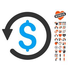 Chargeback icon with valentine bonus vector