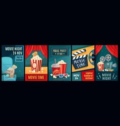 Cinema poster night film movies popcorn and vector