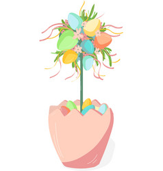 classic easter decor flowerpot with flowers and vector image