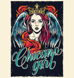 Colorful chicano tattoo style vintage poster vector