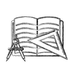 Contour open notebook with study tools icon vector