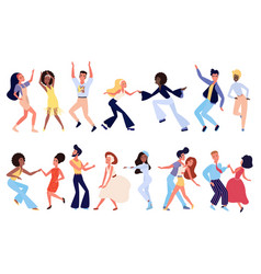 crowd young retro people dancing at club vector image