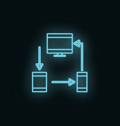 devices monitor mobile tablet neon icon web vector image