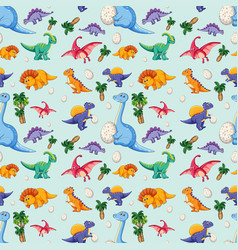 dinosaur on seamless pattern vector image