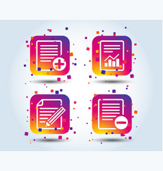 document icons file with chart graph vector image