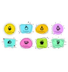Doppio cooking hat and cognac bottle icons set vector