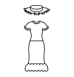 female typical farmer costume icon vector image