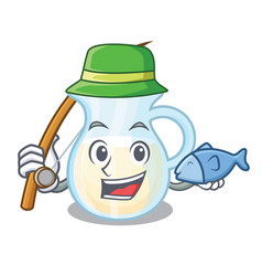 Fishing milk jug completely filled with character vector