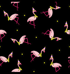 flamingo in hat and scarf seamless vector image