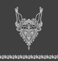 Floral neckline and lace border design for fashion vector