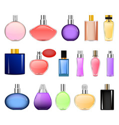 Fragrance bottles mockup set realistic style vector