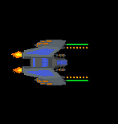 Futuristic spaceship isolated on black background vector