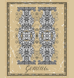 gemini or twins zodiac sign on frame on texture vector image