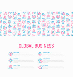 Global business concept with thin line icons vector