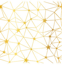 Gold white stars network seamless pattern vector