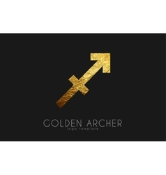 Golden archer Golden zodiac sign Archer zodiac vector image