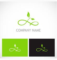 Green leaf curl eco company logo vector