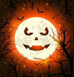 halloween card with scary face on the moon vector image