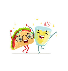 happy glass of lemonade and tacos characters vector image