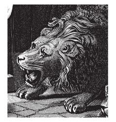 Head of roaring lion vintage vector
